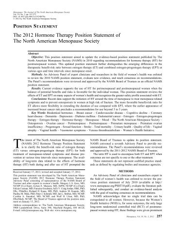 The 2012 Hormone Therapy Position Statement of The North ...