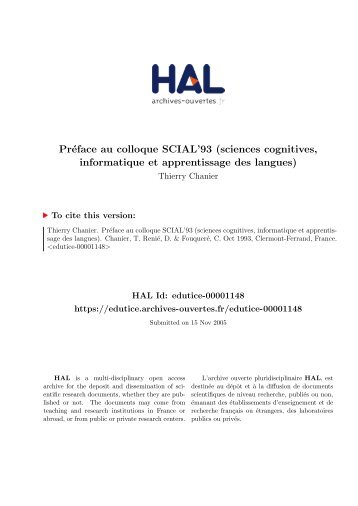 Sciences Cognitives, Informatique et ... - Archive-EduTice