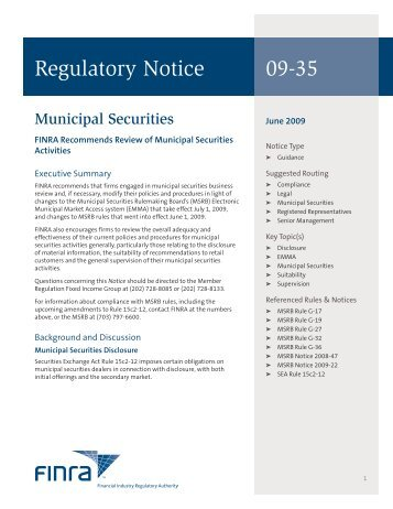 Regulatory Notice 09-35 - finra