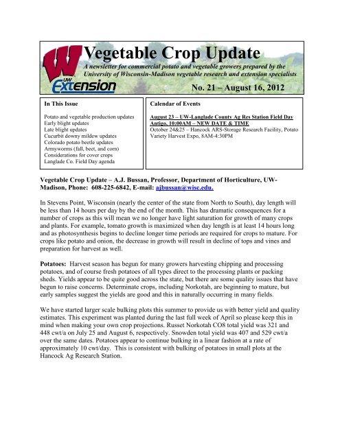 Vegetable Crop Update - Integrated Pest and Crop Management ...