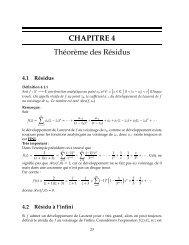 CHAPITRE 4 Théorème des Résidus