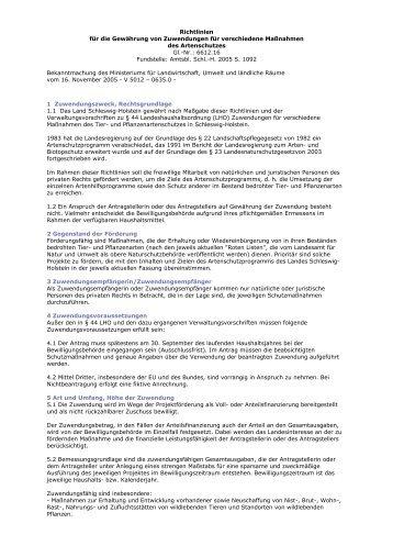Richtlinien für die Gewährung von Zuwendungen für verschiedene ...