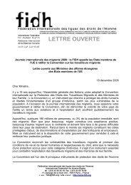 Lettre ouverte aux Ministres des affaires étrangères - FIDH