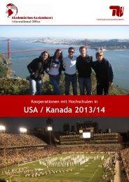 I - USA_Kanada 2013-14 - Akademisches Auslandsamt - TU Berlin