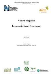 UK Taxonomic Needs Assessment - BioNET