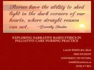 exploring narrative based ethics in palliative care nursing practice