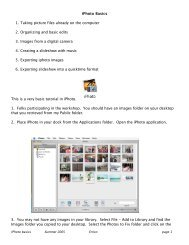 iPhoto Basics 1. Taking picture files already on the computer 2 ...