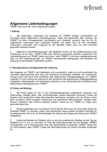 Allgemeine Lieferbedingungen, Essen - TRIMET Aluminium SE