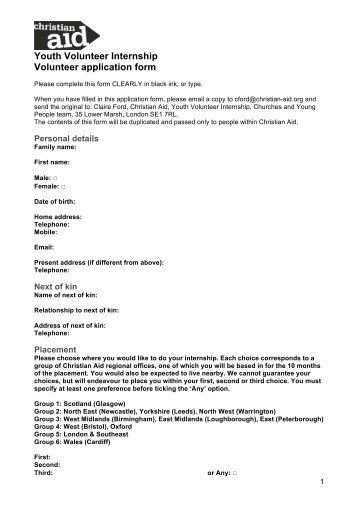 Youth Volunteer Internship Application Form CA - Christian Aid