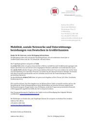 Mobilität, soziale Netzwerke und Unterstützungs- beziehungen von ...