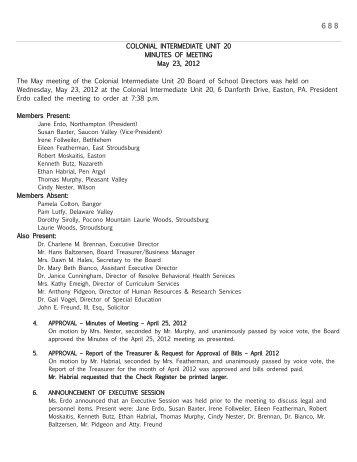 May 23, 2012 - Colonial Intermediate Unit 20