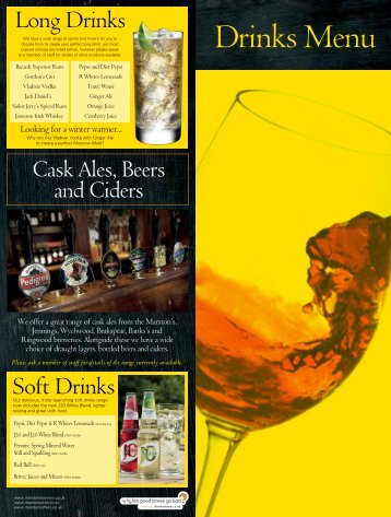 Long Drinks Soft Drinks - Marston's Taverns
