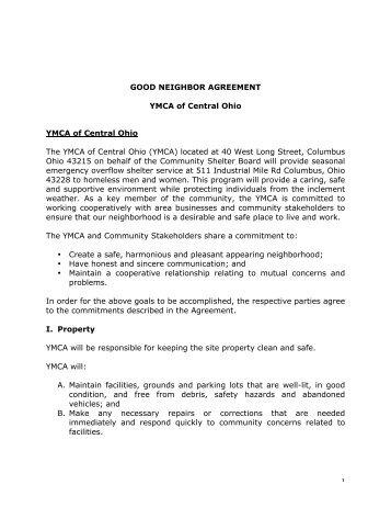 1 GOOD NEIGHBOR AGREEMENT YMCA of Central Ohio YMCA of ...