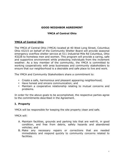 1 Good Neighbor Agreement Ymca Of Central Ohio Ymca Of