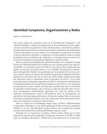 Identidad Campesina, Organizaciones y Redes - Yale University