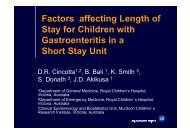 Factors affecting Length of Stay for Children with Gastroenteritis in a ...