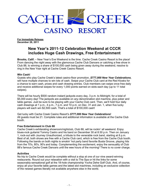 New years eve cache creek casino rothstein las vegas casino