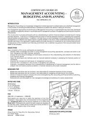 management accounting – budgeting and planning - Hong Kong ...