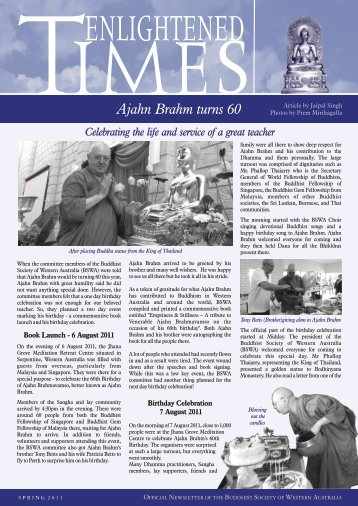 Ajahn Brahm Turns 60 - Buddhist Society of Western Australia