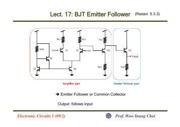 Lect. 17: BJT Emitter Follower (Razavi 5.3.3)