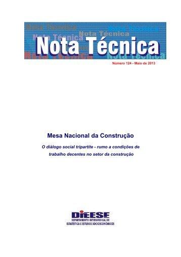 Nota Técnica 124 - Mesa Nacional da Construção - Dieese