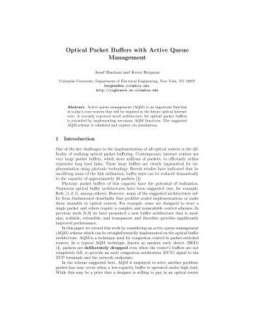 Optical Packet Buffers with Active Queue Management - Columbia ...