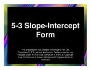 Algebra 5-3 Slope-Intercept Form - Mona Shores Blogs