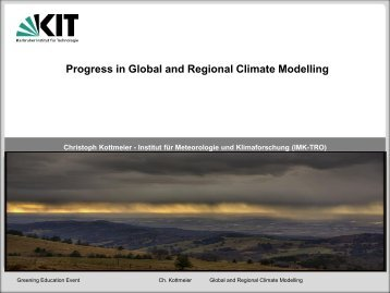 Progress in Global and Regional Climate Modelling - Eosd.org