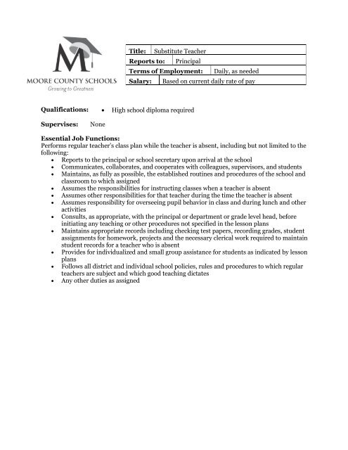 Job Description Substitute Teacher Moore County School