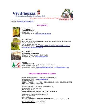 Newsletter n. 11 - Comune di Faenza