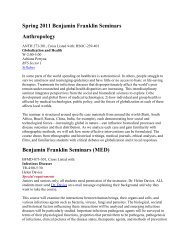 Spring 2011 Benjamin Franklin Seminars Anthropology Benjamin ...