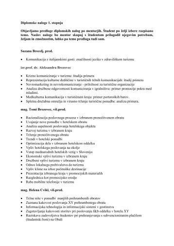 Diplomske naloge - 1. stopnja - Turistica