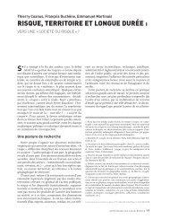 risque, territoire et longue durée - Annales de la Recherche Urbaine