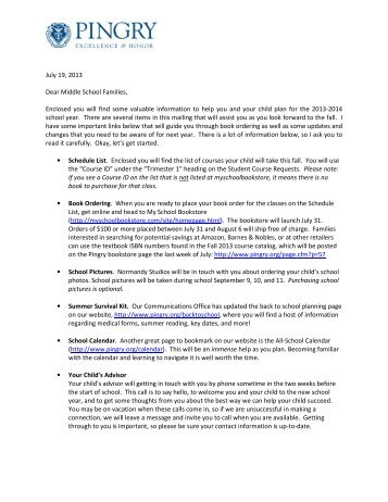 July Letter from Middle School Director Phil Cox - Pingry School