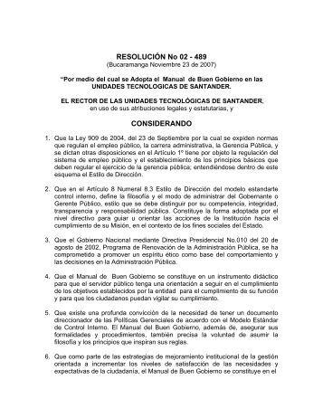 RESOLUCION manual de buen gobierno.pdf - Unidades ...