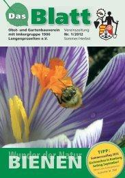 Das Blatt Nr. 1/2012 - OGV-Langenprozelten