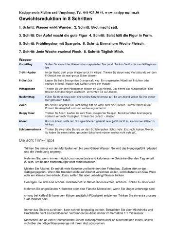 Gewichtsreduktion in 8 Schritten - Kneippverein Meilen und ...
