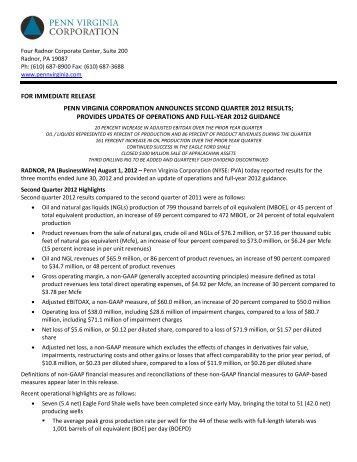 Download this Press Release (PDF 771 KB) - Penn Virginia ...