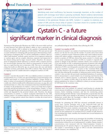 Cystatin C - a future significant marker in clinical diagnosis