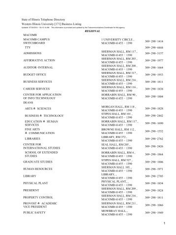 [171] Business Listing REGIONAL MACOMB ... - State of Illinois