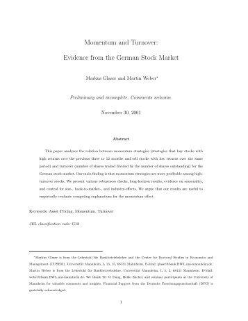 Evidence from the German Stock Market - CiteSeerX