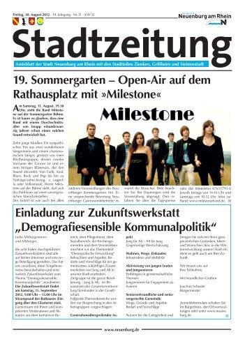 19. Sommergarten – Open-Air auf dem Rathausplatz mit »Milestone ...