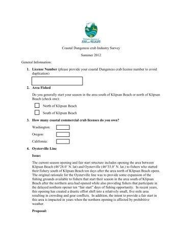 Coastal Commercial Crab Survey