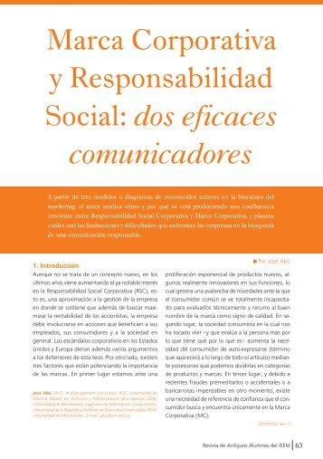 Marca Corporativa y Responsabilidad Social: dos eficaces ... - IEEM