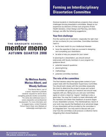 mentor memo - Graduate School - University of Washington