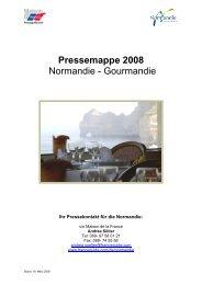 Pressemappe 2008 Normandie - Gourmandie - Maison de la France