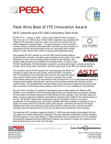 Peek Press Release - Peek Wins Best of ITS ... - Peek Traffic