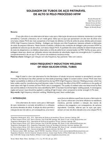 Visualizar PDF - Tecnologia em Metalurgia, Materiais e Mineração