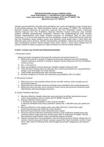 Syarat dan ketentuan beasiswa - PT SMART Tbk