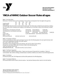 YMCA of NWNC Outdoor Soccer Rules all ages